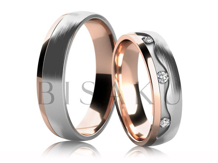4688 Nápadité snubní prsteny v kombinaci bílého a červeného zlata, jejichž převážná část je v saténově matném provedení, kraje jsou ve vysokém lesku. Dámský prsten je zdoben kameny, které jsou lemovány ozdobnou vlnou, která prstenu propůjčuje netradiční vzhled. #bisaku #wedding #rings #engagement #svatba #snubni  #prsteny