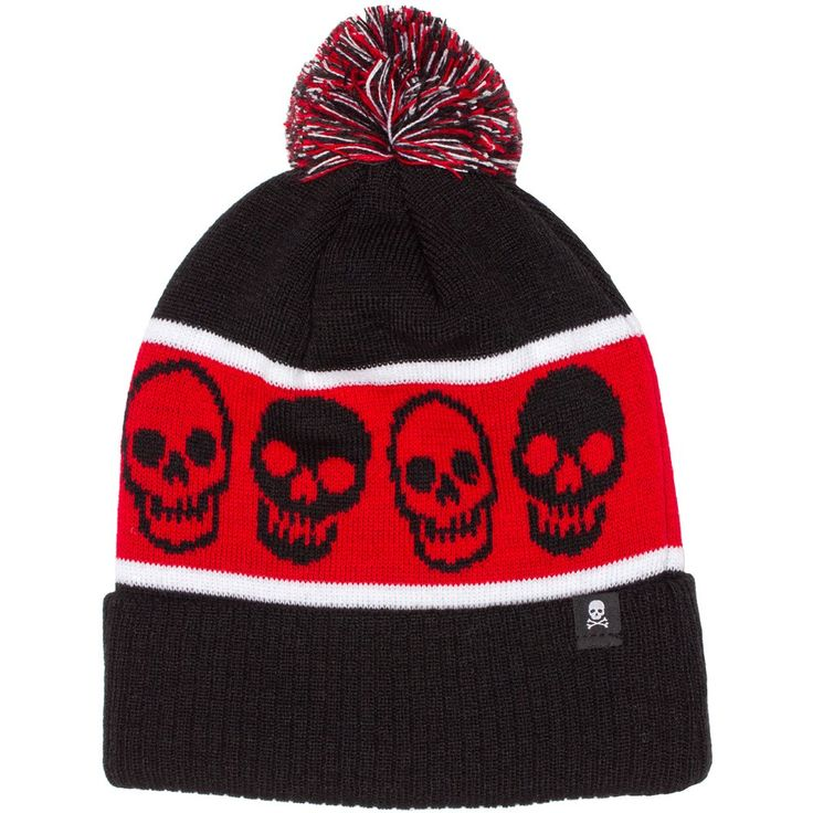 4c0d45a2ca4 Keep that head warm this winter with a hat from Sourpuss! This knit hat has  a repeated pattern of smilin  skulls   a red pom pom attached to the top.