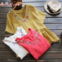 Amourlymei Blusas Femininas 2017 Summer New Women Shirt Mori Girl V-Neck Flower Embroidered Short Sleeve Cotton Linen Blouse Top
