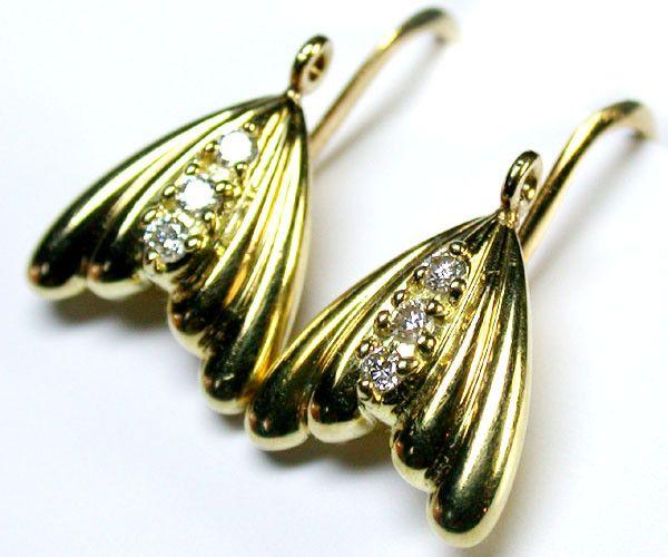 GENUINE BRILLIANT CUT DIAMOND EARRINGS 18K GOLD R1790