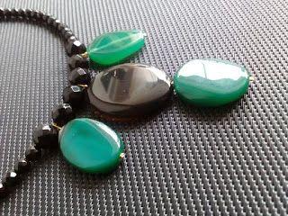 kuku jools : Κολιέ με μαύρο όνυχα και πράσινο αχάτη
