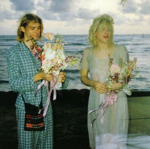 Kurt Cobain married Courtney Love on March 24, 1992 on a cliff overlooking Waikiki Beach on the island of O'aho in Hawaii For their sunset wedding, Kurt wore his pajamas with a woven Guatemalan purse while Courtney wore an old dress that once belonged to Seattle actress Frances Farmer