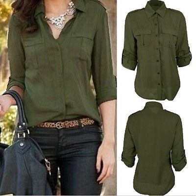Women Long Sleeve Two Pockets Lapel Chiffon Tops Blouse Button Shirt Oversize