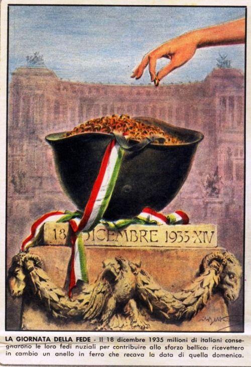 il 18 dicembre 1935, fu proclamata la Giornata della fede, giorno in cui gli italiani furono chiamati a donare il proprio oro (soprattutto le fedi nuziali) per sostenere i costi della guerra #TuscanyAgriturismoGiratola