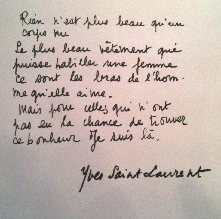 * Le plus beau vêtement qui puisse habiller une femme - texte d'Yves Saint Laurent