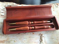 Hand Turned Ballpoint Pen and Pencil Set (In Case) - Lady of the Lake Style, Sheoak Lace