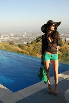 Pool+outfits | Fashion Addict ~ Glam Green Shorts ~ Pool Party Outfits, Go To www ...