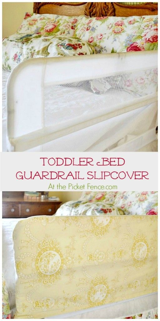 What a great idea!! Toddler_bed_guardrail_slipcover atthepicketfence.com
