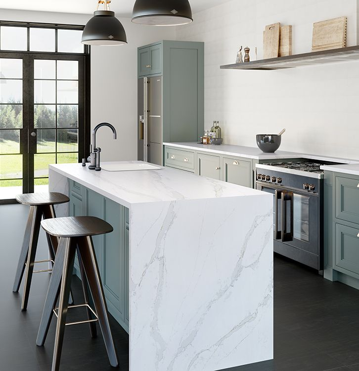 Silestone | Eternal Calcatta Gold  Marble look-alike, waterfall edge