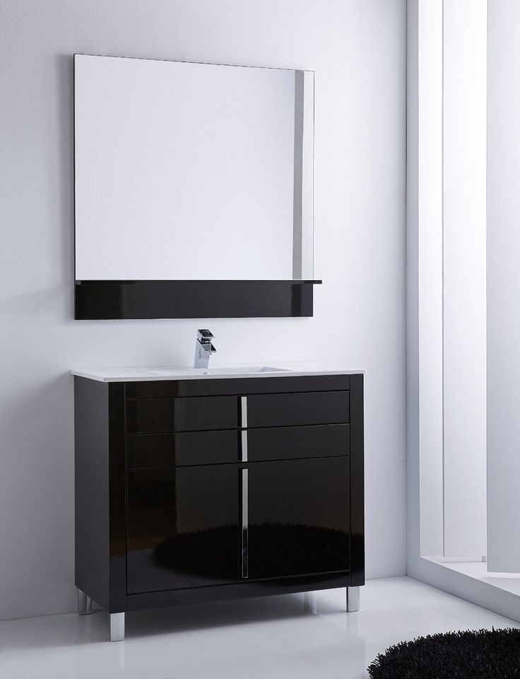 Hispania Home Roma Single Sink Bathroom Vanity Set Base Finish: Black