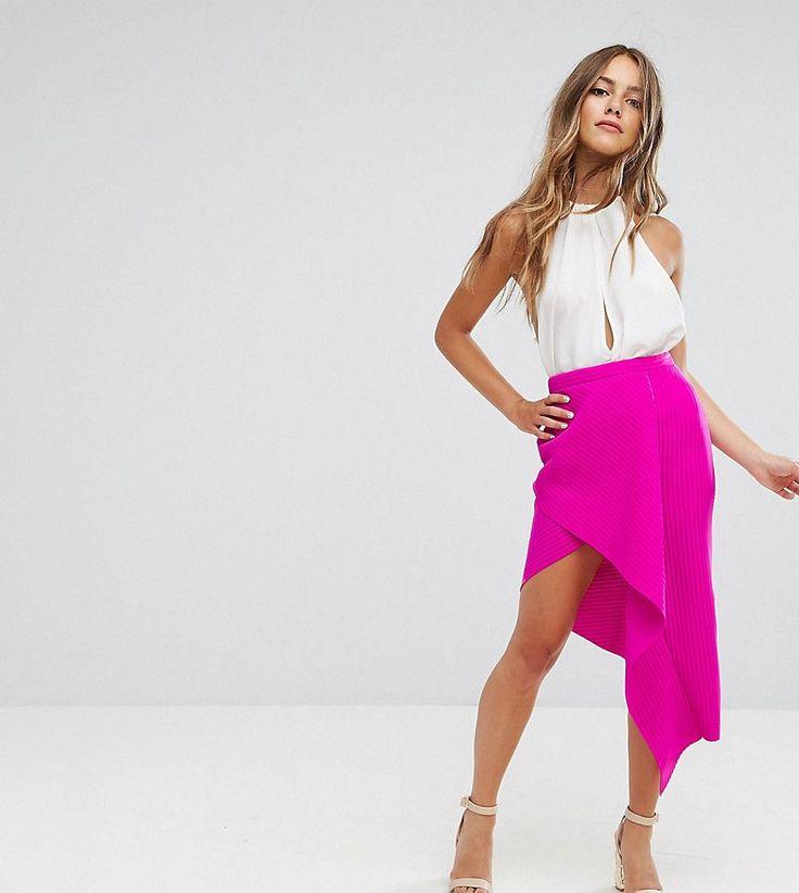 ASOS PETITE Origami Rib Pencil Skirt - Pink
