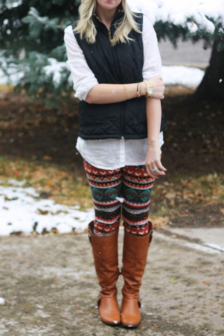 Patterned Leggings + Puffer Vest + Boots   Outfit   http://prettylifeanonymous.blogspot.com   #Tribal #Leggings #Outfit