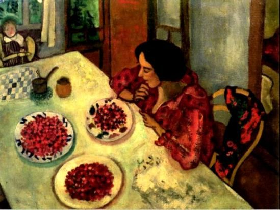 Marc Chagall. Bella and Ida at the table 1916