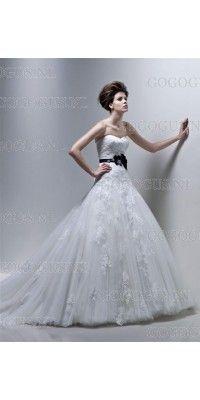 a-lijn-strapless-contrast-bow-lace-kapel-trein-trouwjurken