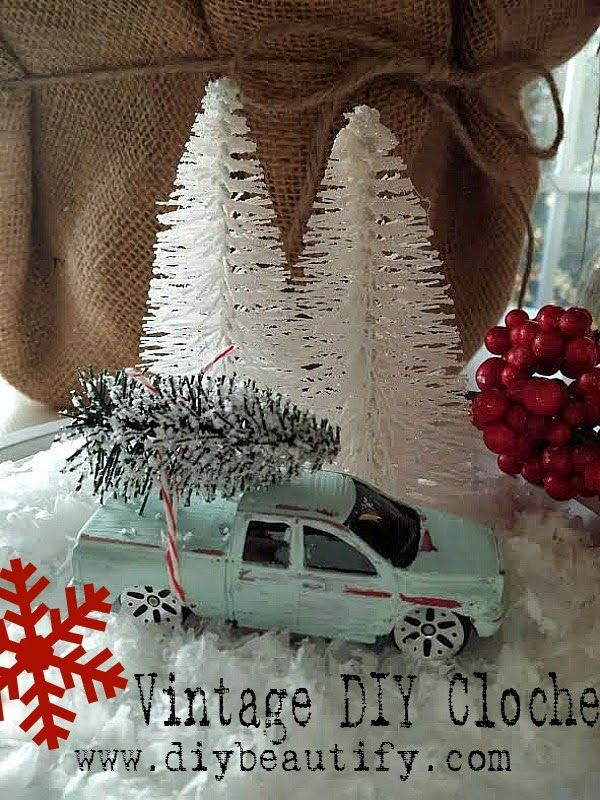 Vintage Christmas Cloche at DIY beautify blog... You'll never believe where I found this vintage truck!