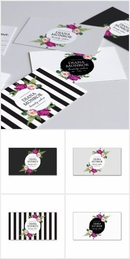 Our floral wreath design suite instantly transforms your name into a beautiful logo. Available to personalize on business cards, appointment cards, gift certificates, office stationery and more. Get your brand up and running right away with this ready-mad (Boutique Business Card Creative)