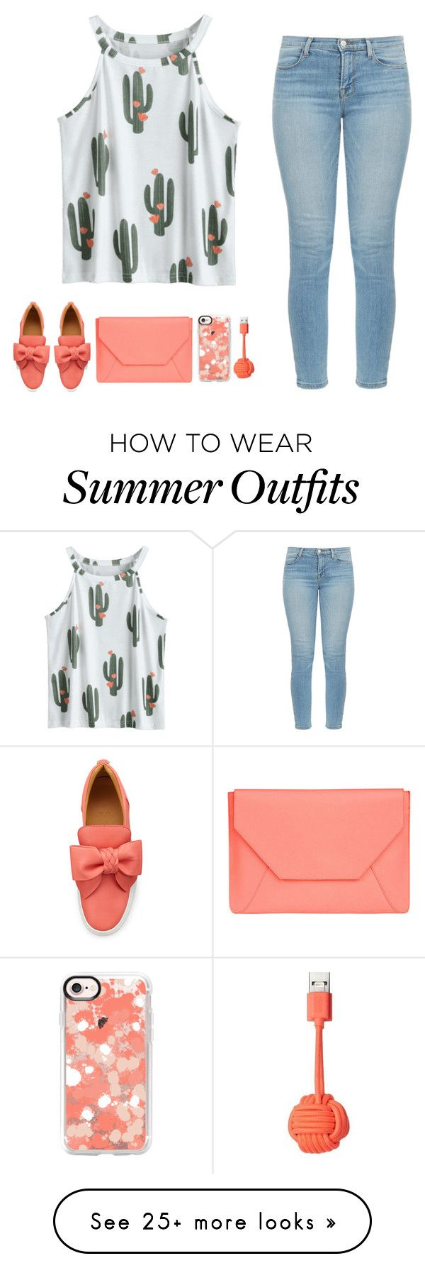 """Cactus Summer Outfit"" by bunnyrabbit8 on Polyvore featuring J Brand, BUSCEMI, Senreve, Casetify and Native Union"