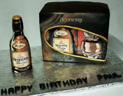 Hennessy Privilege V.S.O.P. Cognac Bottle and Box Birthday Cake