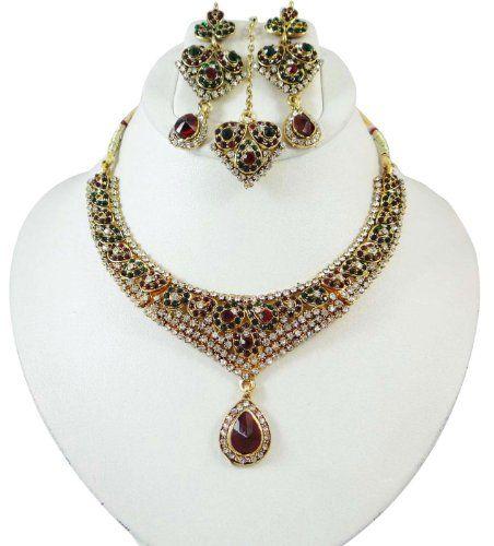 Bollywood Maroon Grün CZ Halskette Set indischen Frauen Hochzeit tragen Ethnische Schmuck-Geschenk | Your #1 Source for Jewelry and Accessor...
