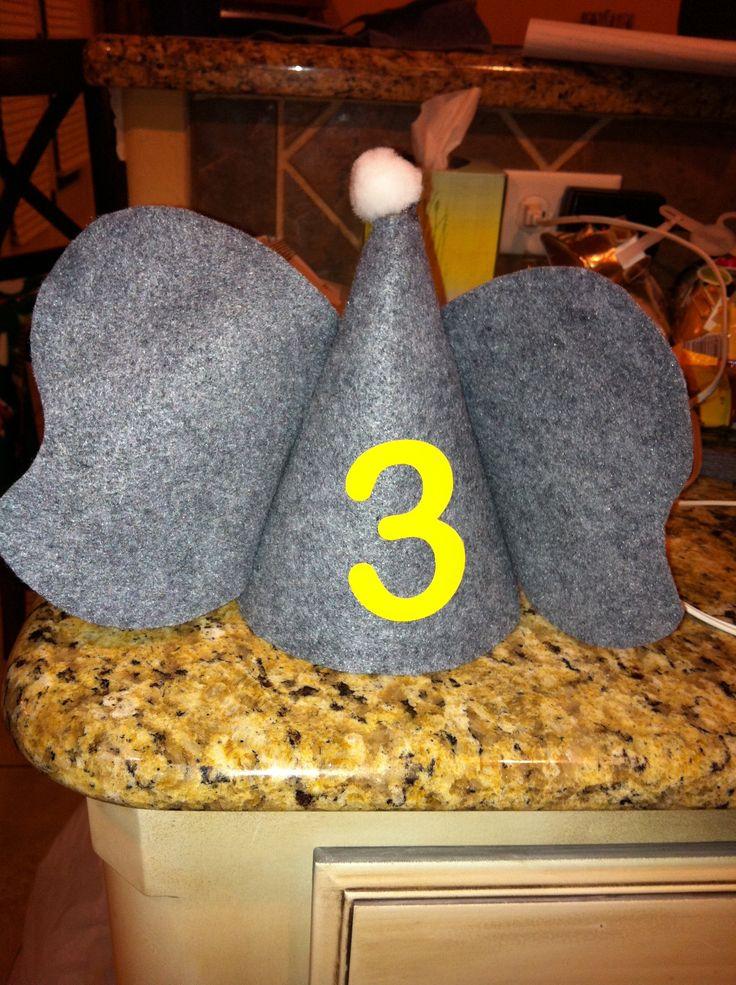 Elephant birthday party hats made with felt