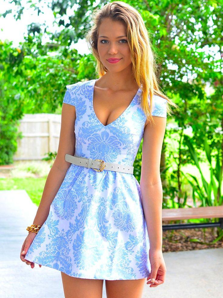 Metallic Pale Blue Print Dress with V-Neckline & Cap Sleeves