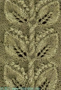 Lily of the Valley 2 - Knittingfool Stitch Detail - beautiful knit stitch (leaves & cabled twigs)