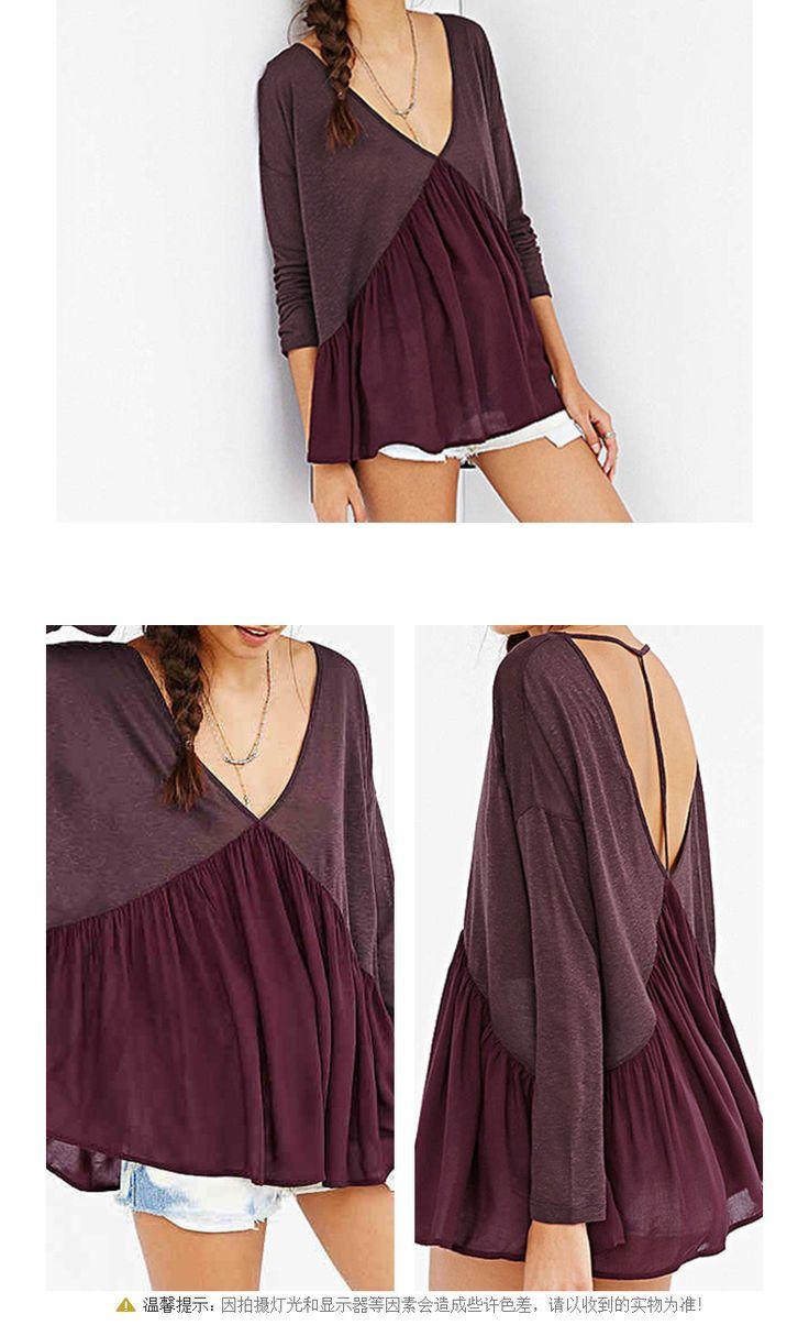 Haoduoyi женщин новые осенние хеджирование с длинным рукавом корейской версии V-образным вырезом Холтер блузка сексуальная рубашки -tmall.com Lynx