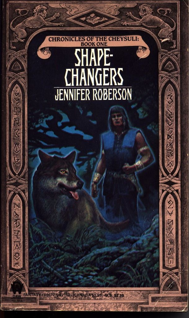 'Shapechangers' (1992) by Jennifer Roberson. I love this book! Every time again. Fantasy. Drama. Nature. Love. Newspeak. Subsequent sequels are grand too, but this debut beats everything! If you are a wee bit romantic, this is where you will find true love. If you are a wee bit adventurous, this is where the action takes place.  No highbrow literature, just plain awesome.