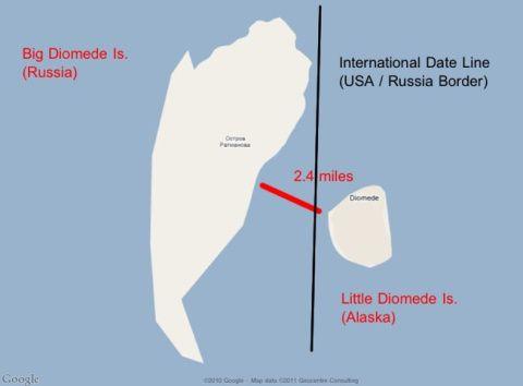 Map of Big Diomede Island and Little Diomede Island