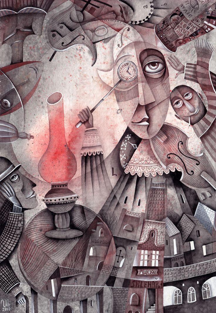 Club of the Red Lamp by Eugene Ivanov, 2002 #eugeneivanov #cubism #avantgarde #cubist #artwork #cubist_artwork #abstract #geometric #association #futurism #futurismo #@eugene_1_ivanov