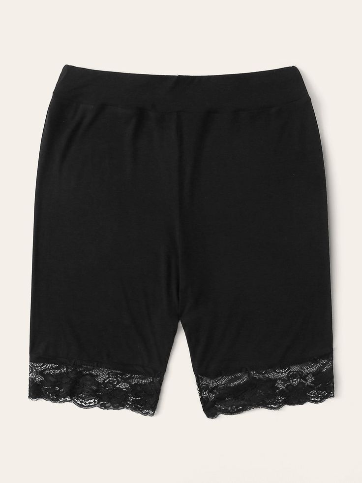 Ad: Plus Lace Hem Biker Shorts. Tags: Casual, Black, Plain, Biker Shorts, Contra…   – Plus Size Leggings
