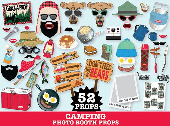 Camping Party Photo Props - Camping Photo Booth Props - Glam Camp, Camp Props, Woodland Props - Printable DIY PDF - 52 Photo Props - which includes 4 cute camping signs, 'Grab a Prop Sign' & 2 Editable Polaroid Frames. Plus 8 Editable Jr. Forest Ranger Badges... to change names for each guest. $7.99
