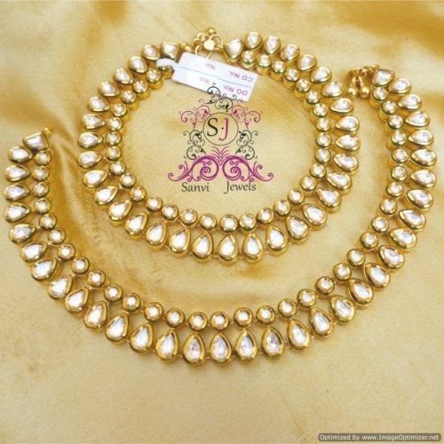 UNIQUE KUNDAN MEENAKARI GOLD PLATED ANKLETS