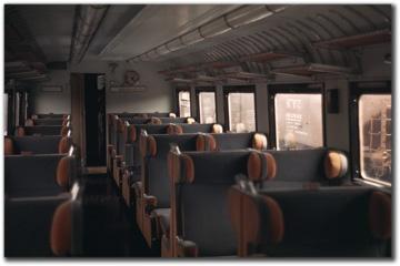 The interior of the Italian State Railways ETR 200. Interiors were by architect Giuseppe Pagano, with Gio Ponti. The full name of the train was l'Elettro Treno Rapido 200.