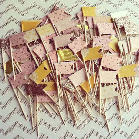 100 Mini Gold/Pink/Yellow Cupcake Picks on Etsy, $43.00