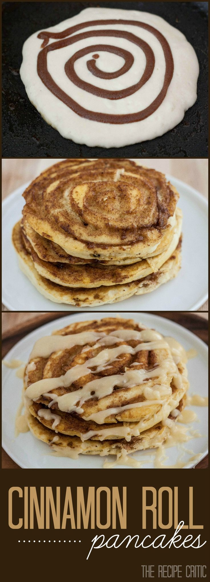 Cinnamon Roll Pancakes at http://therecipecritic.com  A cinnamon roll in the form of a pancake with a warm cream cheese glaze on top!