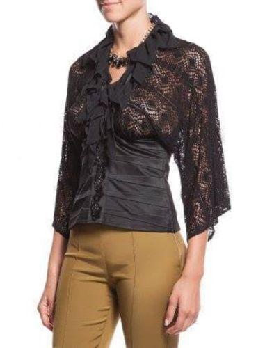 Black-Satin-lace-blouse-evening-blouse-bat-sleeves-brands-cocktail-blouse-size40