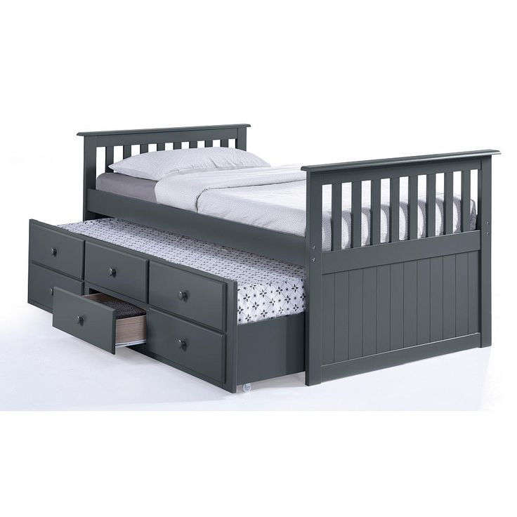 The Broyhill Kids Marco Island Twin Captain's Bed features a pull-out twin trundle bed with three functioning spacious drawers to bring style and functionality to any bedroom. Made from high-quality solid hardwood and composites, the Marco Island Captain's Bed is sturdy and built for years of enjoyment. The Marco Island is also versatile as the included twin-size trundle bed with three functioning drawers can easily be wheeled in and out for maximum storage space. Offered in multiple ...
