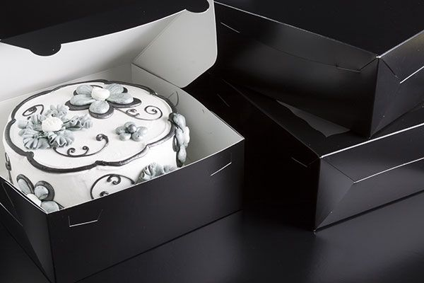 """2883 - 10"""" x 10"""" x 4"""" Black/White without Window, Lock & Tab Box With Lid"""