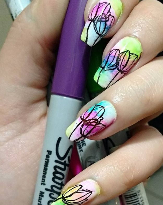 Colorful Tulips | Sharpie Nail Art Designs You'll Surely Love