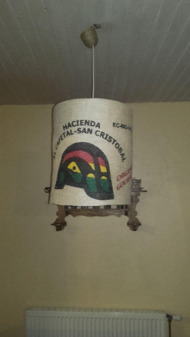 suspension , luminaire, véritable sac à café des îles galapagos : Luminaires par lukilum