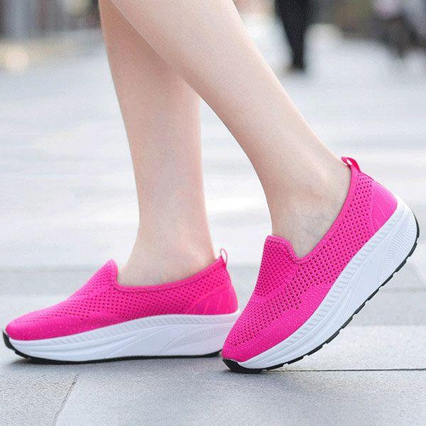 Üreges Mesh Kényelmes Rocker Sole Platform Shake alkalmi cipő