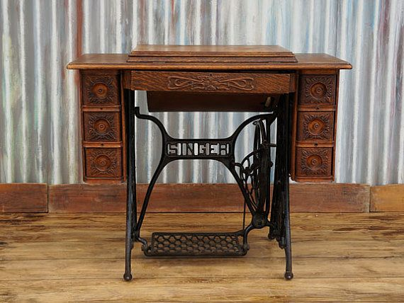 Antique Vintage Singer Treadle Sewing Machine Cabinet Table No. 5 with  Egyptian Sphinx / Memphis Machine | Fabric creations | Pinterest | Treadle  sewing ... - Antique Vintage Singer Treadle Sewing Machine Cabinet Table No. 5