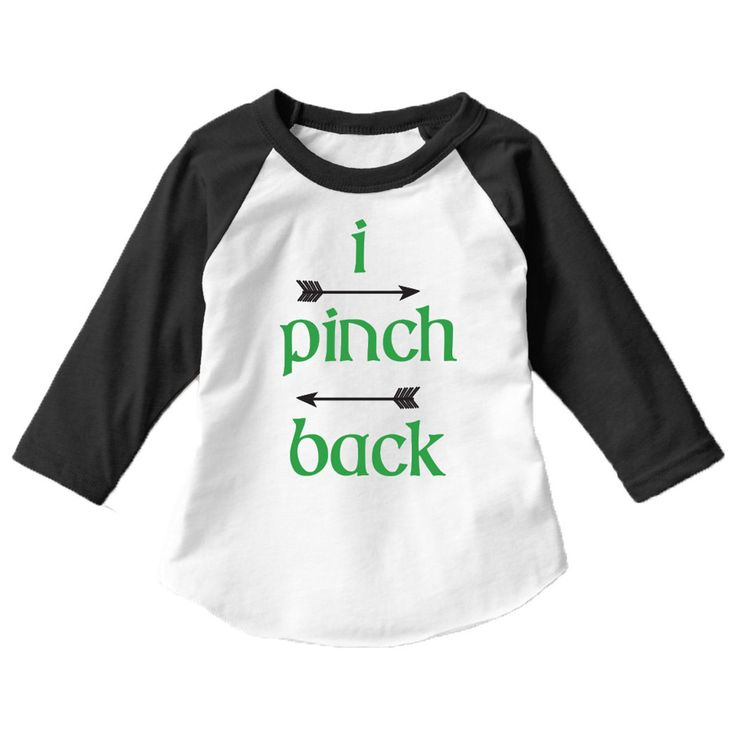 I Pinch Back Kids St. Patrick's Day 3/4 Sleeve Raglan Baseball T-Shirt. Fair warning given in this adorable tee for boys and girls.
