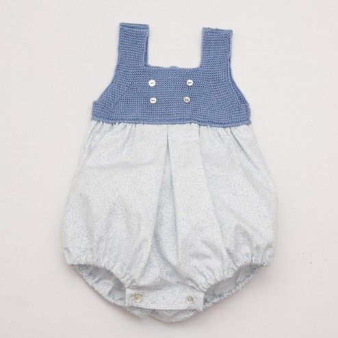 Knitted and Cotton Baby Girl Romper – Flower Print