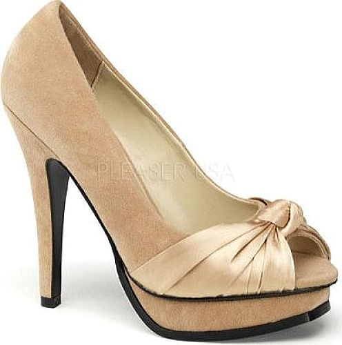 Pin Up Couture Women's Shoes in Champagne Sueded PU Color. Perfect peep toe heels for a night out on the town!