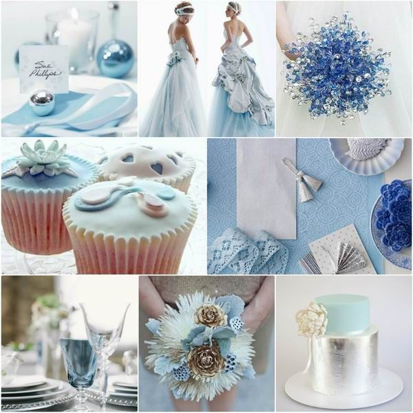 Romantic Winter Wedding Colors: Blue Shades + Silver
