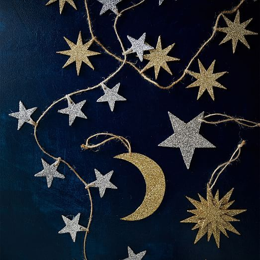 Glitter Kraft Gold Star Garland | west elm