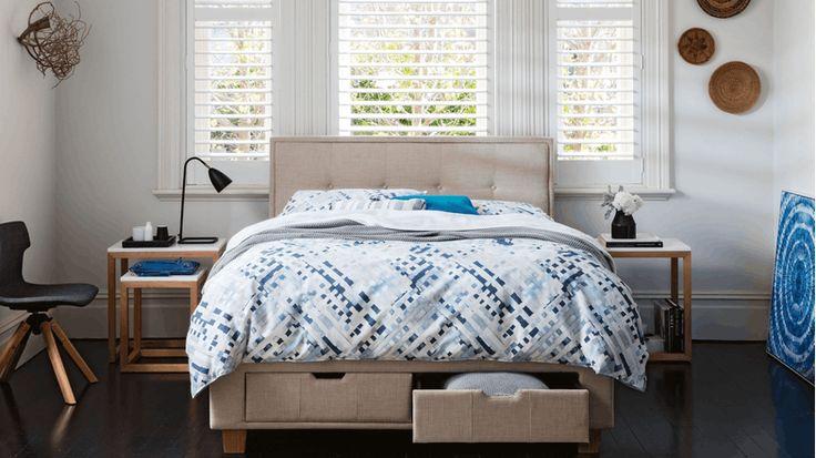Halo Bed Frame with Storage - Beige | Domayne