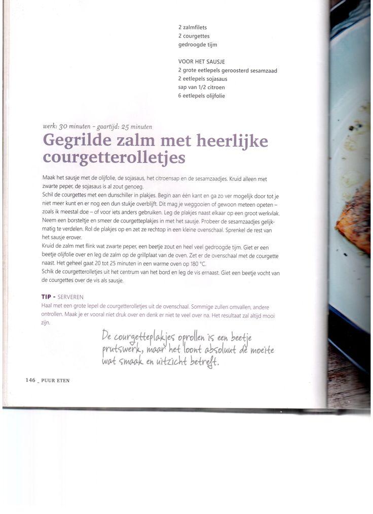 Gegrilde zalm met heerlijke courgetterolletjes Pascale Naessens